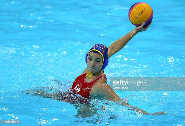 Roser Tarrago Aymerich of Spain takes a shot on goal in the Women's Water Polo semifinal match between Spain and Hungary at the Water Polo Arena on...