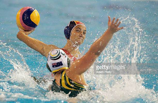 Roser Tarrago of Spain controls the ball against Zoe Arancini of Australia during the Women's Water Polo Gold Medal Match between Australia and Spain...