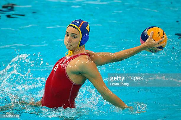 Roser Tarrago of Spain throws the ball during day fifth of the FINA Women's World League Super Final 2013 match between Australia and Spain at...
