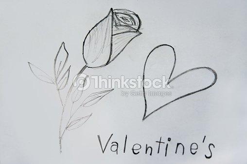 Roses Et Coeur Dessin Pour Evenement De La Saintvalentin Photo