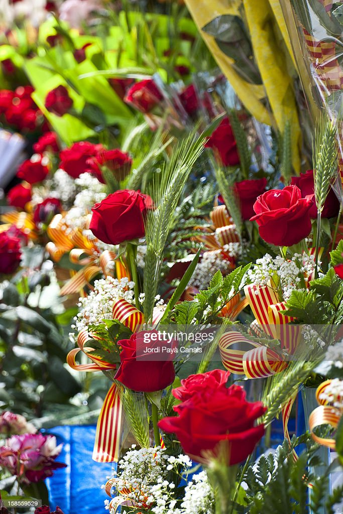 Roses being sold in Barcelona on St. George's day : Stock Photo