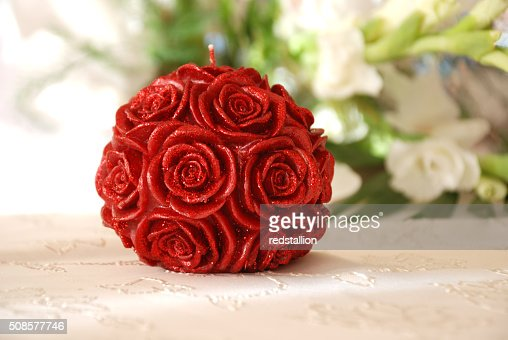 roses  flower candle : Stock Photo