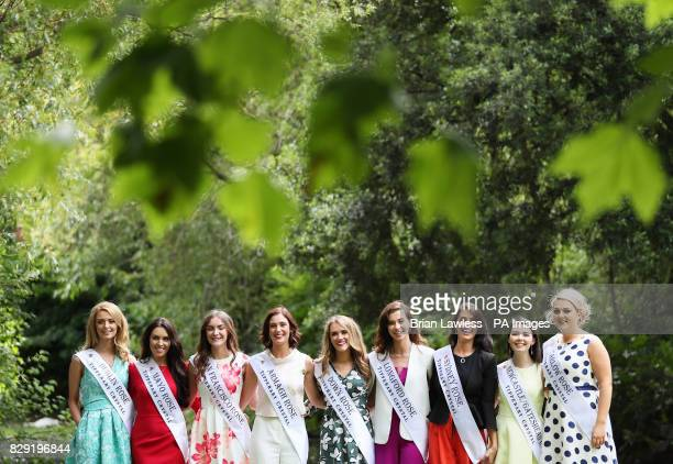Roses from Ireland and overseas who are preparing for their journey to Tralee for the Rose of Tralee International Festival take part in a photocall...