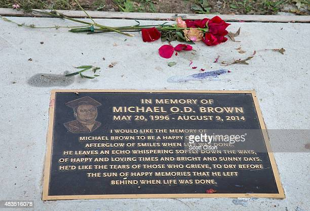 Roses lie next to a plaque in the sidewalk which honors Michael Brown following a memorial service marking the anniversary of Brown's death on August...