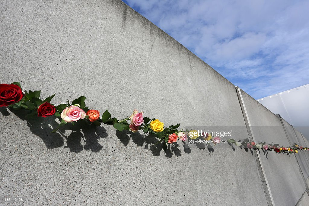 Roses stuck in a gap of the memorial of the Berlin Wall on November 9, 2013 on occasion of the 24th anniversary of the fall of the Wall. AFP PHOTO / DPA / STEPHANIE PILICK +++ GERMANY OUT