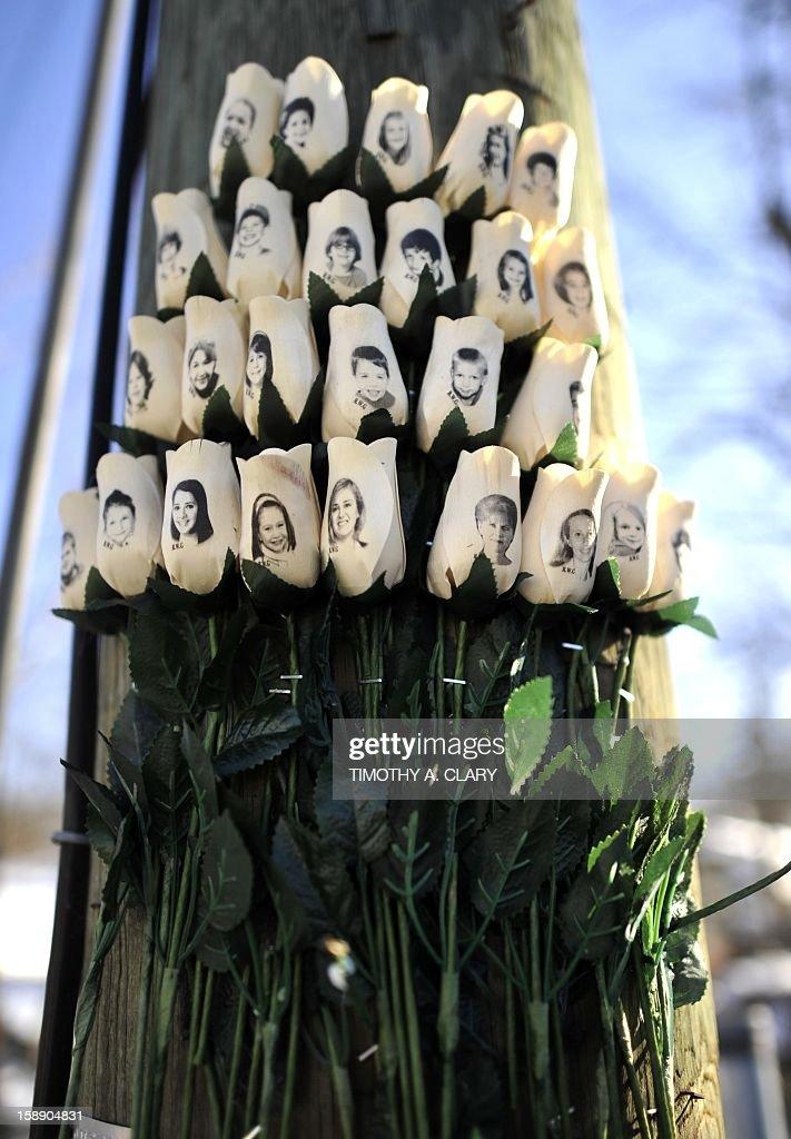 Roses with the faces of the Sandy Hook Elementry students and adults killed are seen on a pole in Newtown, Connecticut on January 3, 2013. Students at the elementary school where a gunman massacred 26 children and teachers last month were returning Thursday to classes at an alternative campus described by police as 'the safest school in America.' Survivors were finally to start their new academic year in the nearby town of Monroe, where a disused middle school has been converted and renamed from its original Chalk Hill to Sandy Hook.