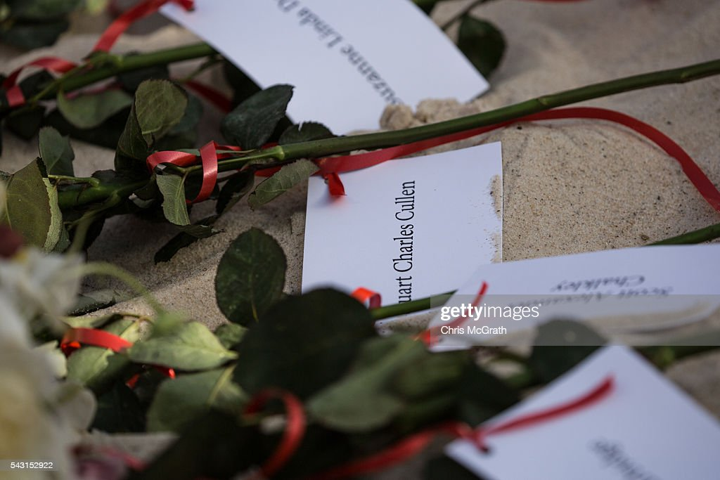 Roses with the names of each of the 30 British victims of the 2015 Sousse Beach terrorist attack are seen after being layed in the sand during a memorial service on the beach in front of the Imperial Marhaba hotel on June 26, 2016 in Sousse, Tunisia. Today marks the one year anniversary of the Sousse Beach terrorist attack, which killed 38 people including 30 Britons. Before the 2011 revolution, tourism in Tunisia accounted for approximately 7% of the countries GDP. The two 2015 terrorist attacks at the Bardo Museum and Sousse Beach saw tourism numbers plummet even further forcing hotels to close and many tourism and hospitality workers to lose their jobs.