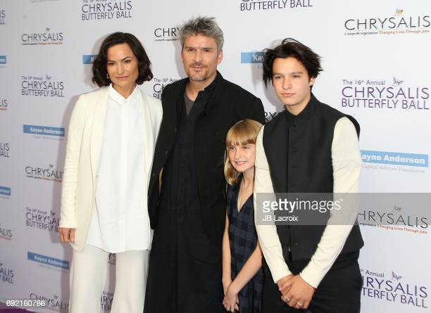 Rosetta Getty and Balthazar Getty with Violet Getty and June Getty attend the 16th Annual Chrysalis Butterfly Ball on June 03 2017 in Brentwood...
