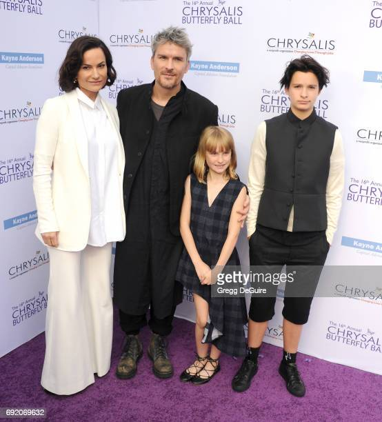 Rosetta Getty Balthazar Getty Violet Getty and June Getty arrive at the 16th Annual Chrysalis Butterfly Ball at a private residence on June 3 2017 in...