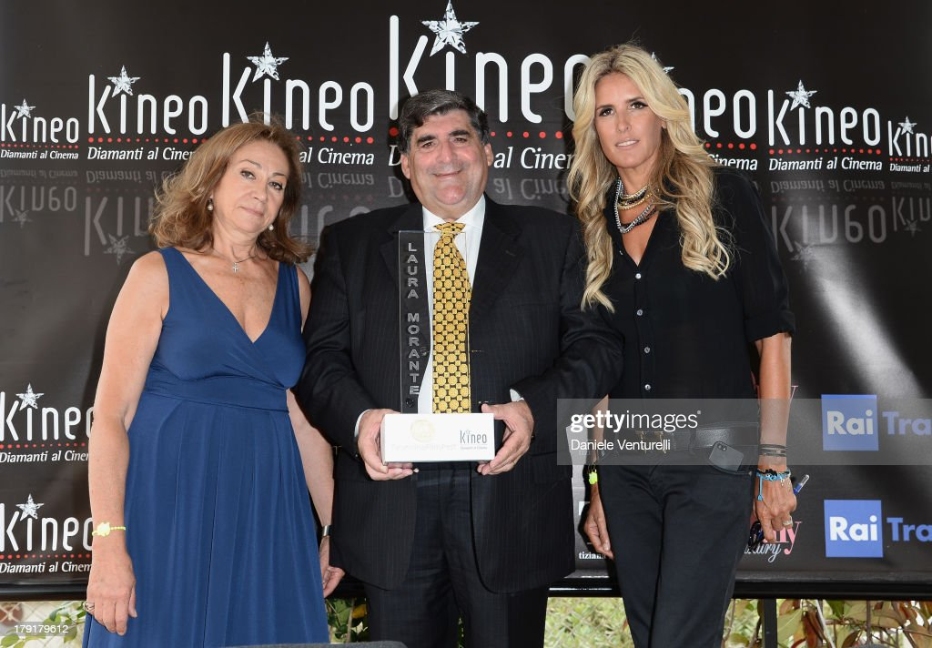 Rosetta Sannelli, Mayor of Taormina Eligio Giardina and actress <a gi-track='captionPersonalityLinkClicked' href=/galleries/search?phrase=Tiziana+Rocca&family=editorial&specificpeople=863159 ng-click='$event.stopPropagation()'>Tiziana Rocca</a> attend Premio Kineo Photocall during the 70th Venice International Film Festival at Terrazza Maserati on September 1, 2013 in Venice, Italy.