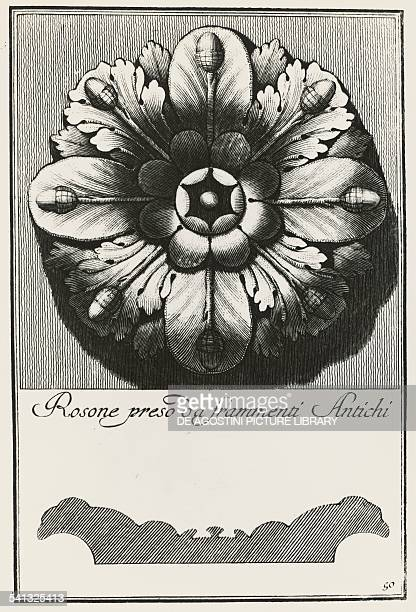 Rosette from ancient fragments table 50 engraving from Manual of various ornaments by Carlo Antonini Italy 18th century Milan Biblioteca Ambrosiana