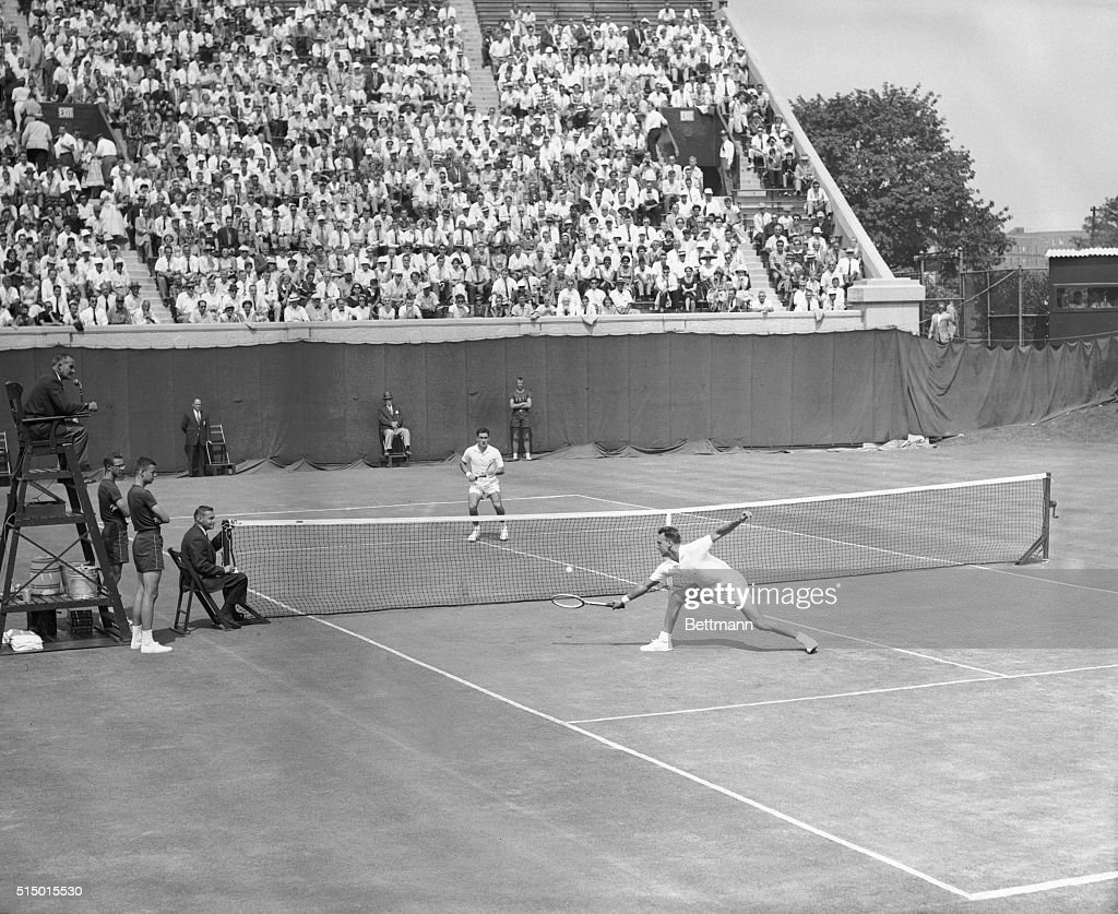 Vic Seixas and Ken Rosewall Playing Tennis