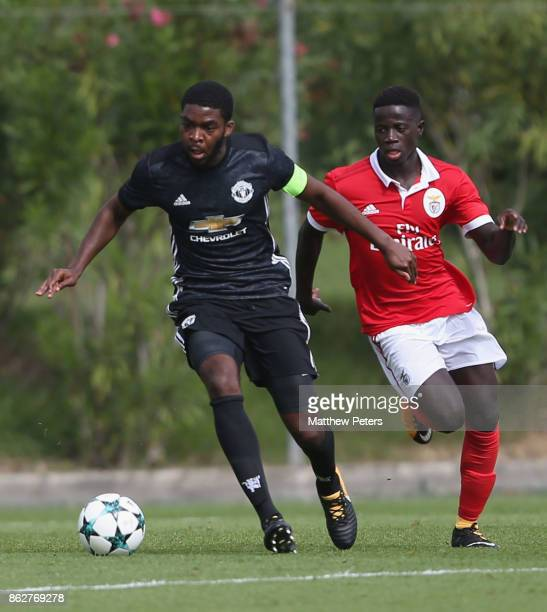 RoShaun Williams of Manchester United U19s in action during the UEFA Youth League match between Benfica U19s and Manchester United U19s at Caixa...