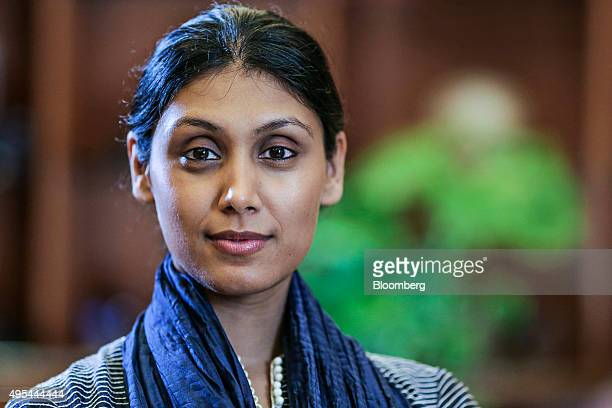 Roshni Nadar chief executive officer for HCL Corp poses for a photograph following an interview in Noida Uttar Pradesh India on Friday Oct 2 2015...