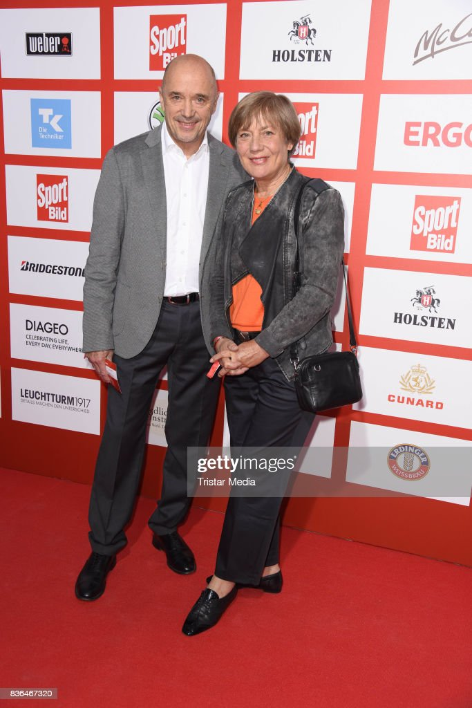 Rosi Mittermaier and her husband Christian Neureuther attend the Sport Bild Award on August 21, 2017 in Hamburg, Germany.