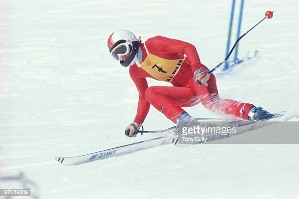 Rosi Mittermaier of the Federal Republic of Germany during the Women's Downhill Alpine Skiing event at the XII Innsbruck Winter Olympic Games on 8...