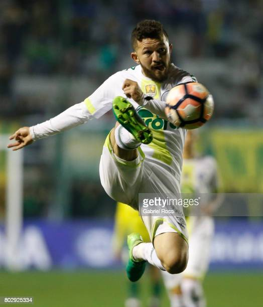 Rosicley Pereira da Silva of Chapecoense kicks the ball during a first leg match between Defensa y Justicia and Chapecoense as part of second round...