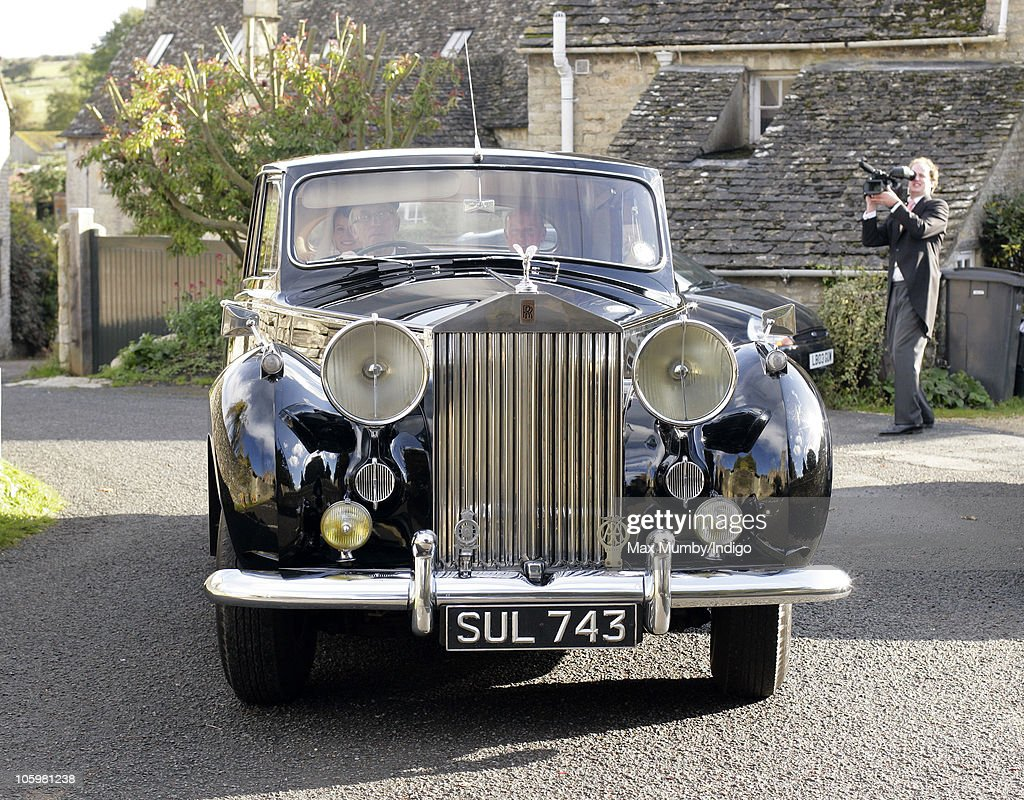 Rosie Bradford arrives for her wedding in a vintage Rolls Royce car at the Church of St. Peter and St. Paul on October 23, 2010 in Northleach near Cheltenham, England.