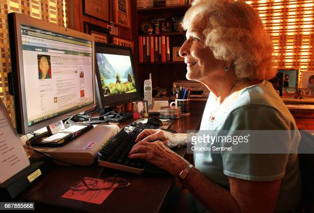 Rosie Chapman works on Facebook at her home in Orlando Fla