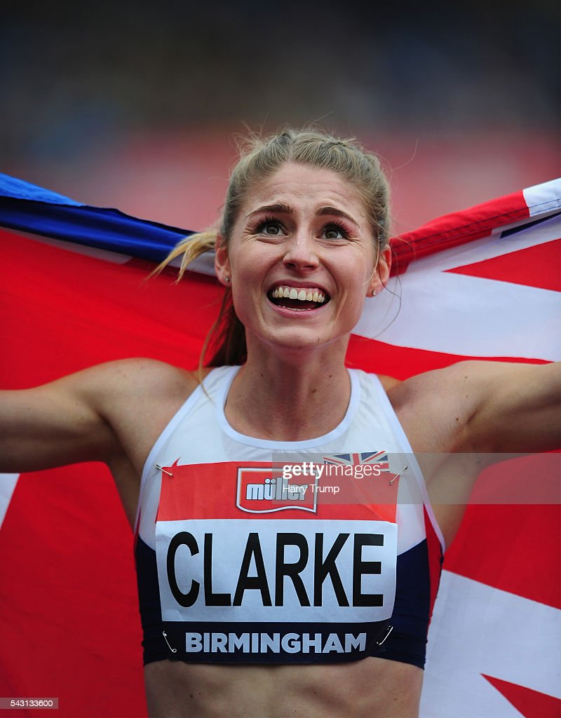 Rosie Clarke of Great Britain reacts after her victory in the Womens 3000 Metres Steeplechase during Day Three of the British Championships at Birmingham Alexander Stadium on June 26, 2016 in Birmingham, England.