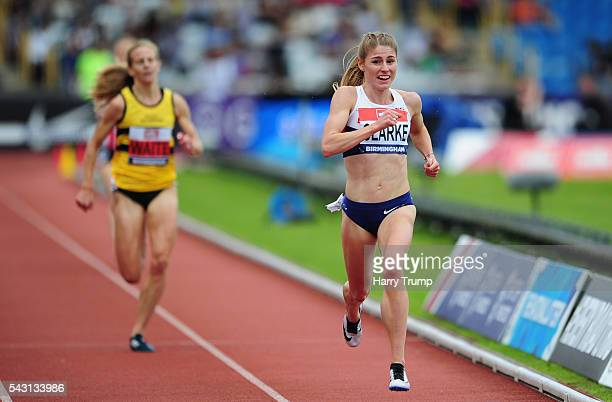 Rosie Clarke of Great Britain reacts after her victory in the Womens 3000 Metres Steeplechase during Day Three of the British Championships at...