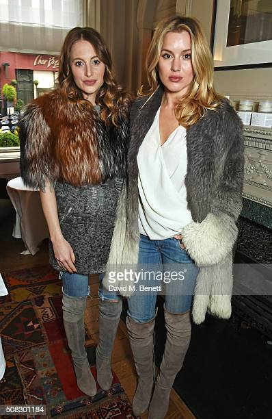 Rosie Fortescue and Caggie Dunlop attend the launch of Forte Organics hosted by Irene Forte at Brown's Hotel a Rocco Forte Hotel on February 4 2016...