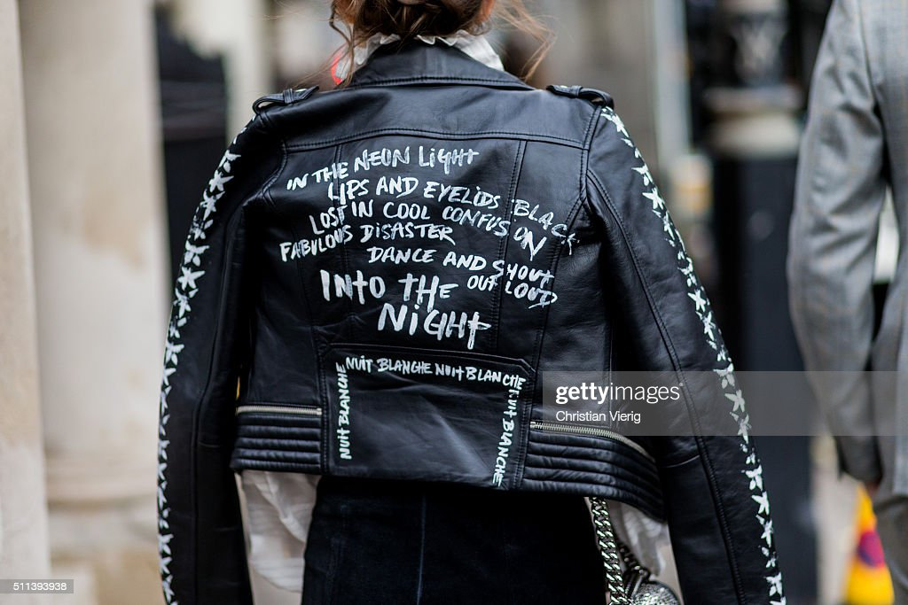 Rosie Fortescue wearing a black leather jacket outside Daks during London Fashion Week AW16 on February 19, 2016 in London, England, United Kingdom.