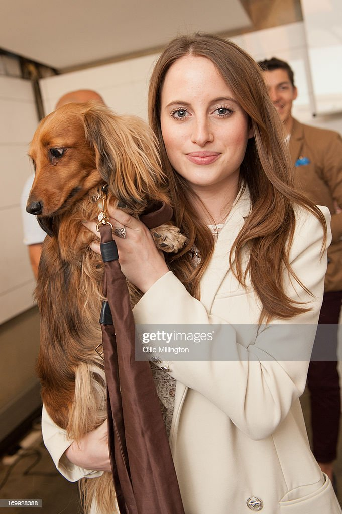 Rosie Fortescue with her Dachshund Noodle host the petspyjamas.com fashion industry pet party on June 4, 2013 in London, England.