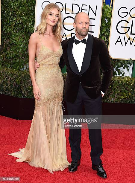 Rosie Huntington Whiteley and Jason Statham arrives at the 73rd Annual Golden Globe Awards at The Beverly Hilton Hotel on January 10 2016 in Beverly...