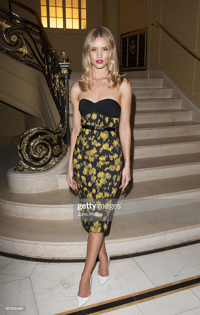 Rosie Huntington Whiteley attends a Vogue dinner hosted by Alexandra Shulman in honour of Michael Kors at Cafe Royal on April 25, 2013 in London, England.