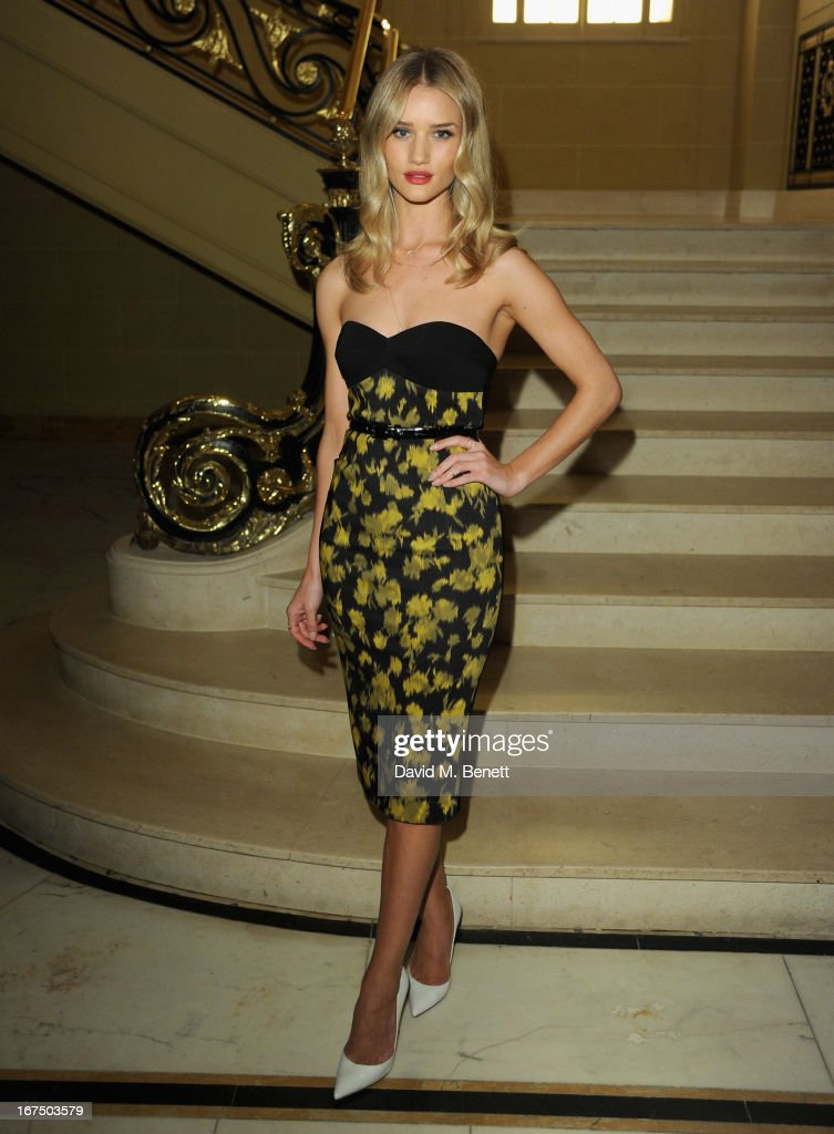 Rosie Huntington Whiteley attends the Alexandra Shulman and Vogue Dinner in Honour of Michael Kors at the Cafe Royal on April 25, 2013 in London, England.