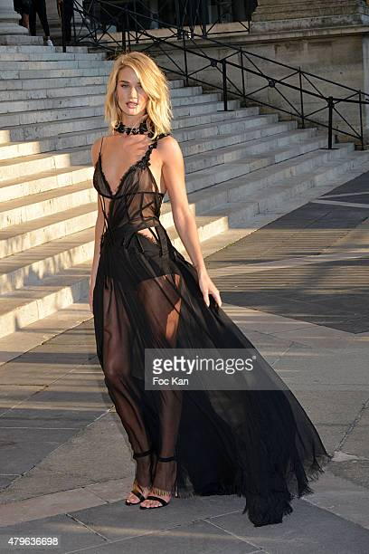 Rosie Huntington Whiteley attends the Versace show as part of Paris Fashion Week Haute Couture Fall/Winter 2015/2016 on July 5 2015 in Paris France
