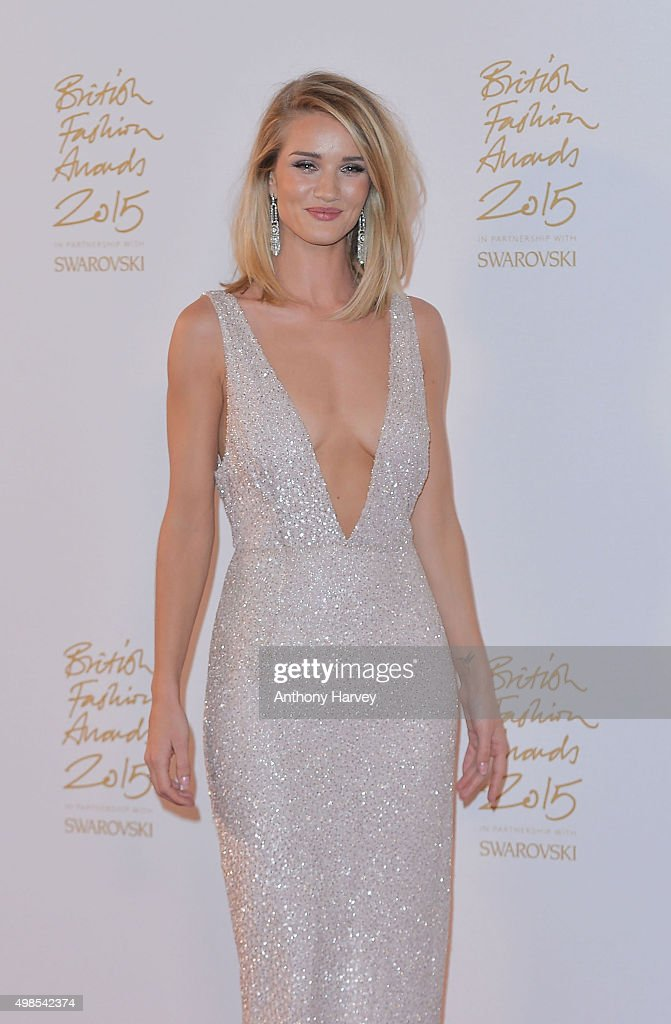 Rosie Huntington Whiteley poses in the Winners Room at the British Fashion Awards 2015 at London Coliseum on November 23 2015 in London England