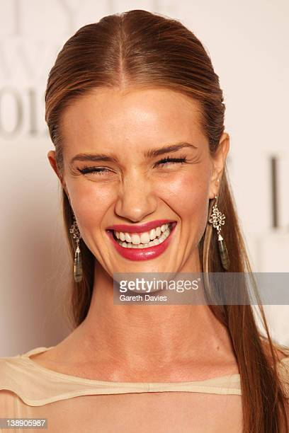 Rosie Huntington Whiteley poses with her Style Icon Award in the press room at The ELLE Style Awards 2012 at The Savoy Hotel on February 13 2012 in...