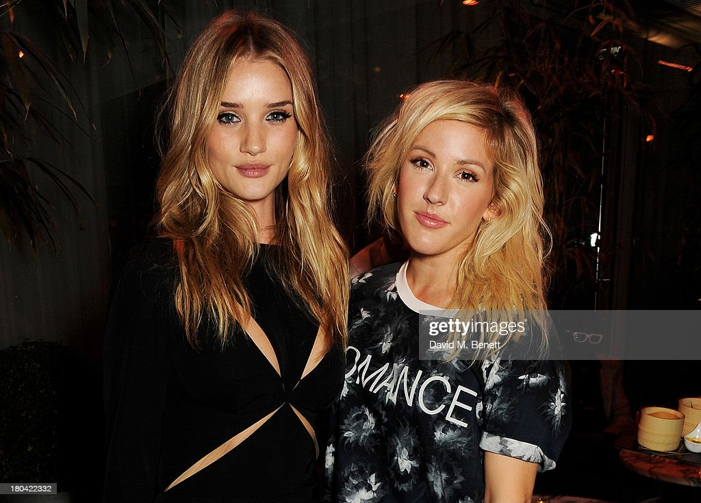 <a gi-track='captionPersonalityLinkClicked' href=/galleries/search?phrase=Rosie+Huntington-Whiteley&family=editorial&specificpeople=2244343 ng-click='$event.stopPropagation()'>Rosie Huntington-Whiteley</a> (L) and Ellie Goulding attend the ELLE Magazine drinks reception celebrating London Fashion Week SS14 at the Sanderson Hotel on September 12, 2013 in London, England.