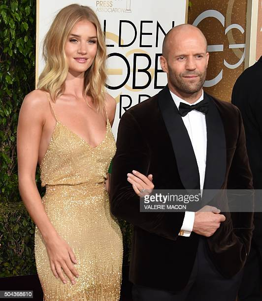 Rosie HuntingtonWhiteley and Jason Statham arrive at the 73nd annual Golden Globe Awards January 10 at the Beverly Hilton Hotel in Beverly Hills...