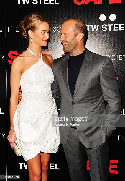 Rosie HuntingtonWhiteley and Jason Statham attend the Lionsgate and IM Global with the Cinema Society screening of 'Safe' at Chelsea Clearview Cinema...