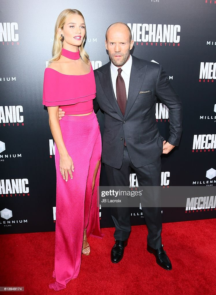 Rosie Huntington-Whiteley and Jason Statham attend the premiere of Summit Entertainment's 'Mechanic: Resurrection' on August 22, 2016 in Hollywood, California.