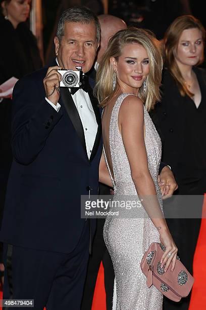 Rosie HuntingtonWhiteley and Mario Testino attend the British Fashion Awards 2015 at London Coliseum on November 23 2015 in London England