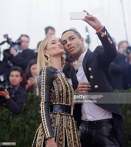 Rosie HuntingtonWhiteley and Olivier Rousteing attend the 'Charles James Beyond Fashion' Costume Institute Gala at the Metropolitan Museum of Art on...