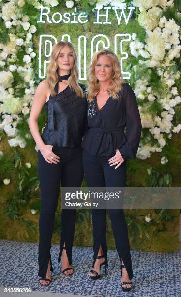 Rosie HuntingtonWhiteley and Paige AdamsGeller celebrate the launch of the Rosie HW x PAIGE Fall Collection at the PAIGE Brentwood Store on September...