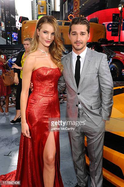 Rosie HuntingtonWhiteley and Shia LaBeouf attend the 'Transformers Dark Of The Moon' premiere in Times Square on June 28 2011 in New York City