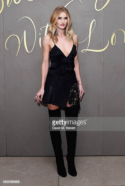 Rosie HuntingtonWhiteley arrives at the Burberry Festive film premiere at 121 Regent Street on November 3 2015 in London England