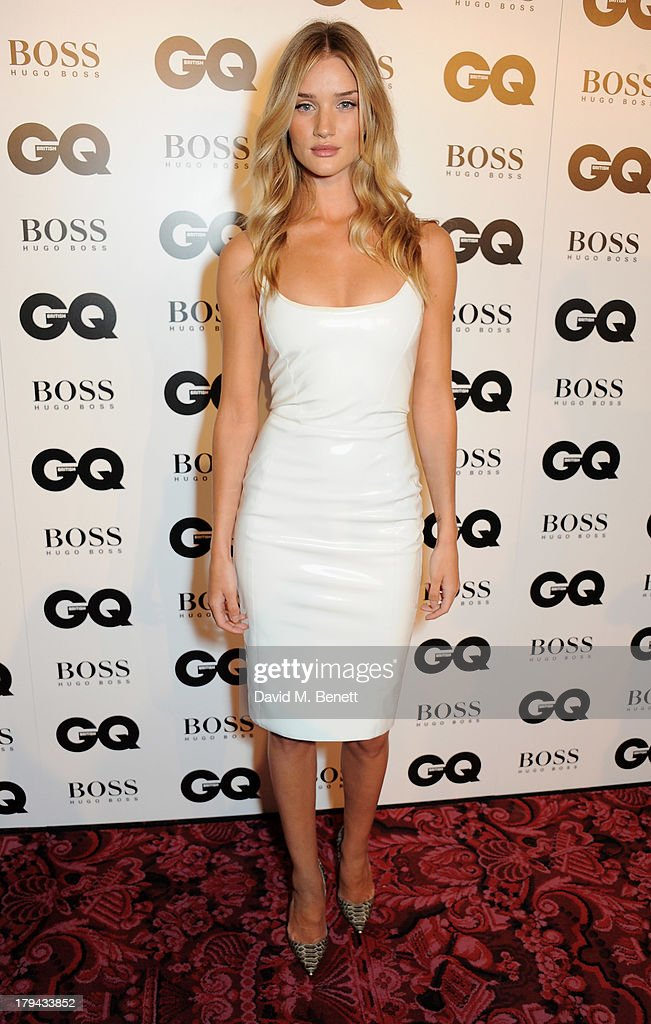Rosie Huntington-Whiteley arrives at the GQ Men of the Year awards at The Royal Opera House on September 3, 2013 in London, England.