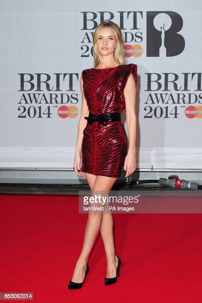 Rosie HuntingtonWhiteley arriving for the 2014 Brit Awards at the O2 Arena London