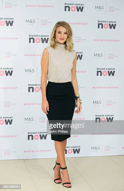 Rosie HuntingtonWhiteley attends a photocall to launch a new lingerie range in partnership with Breast Cancer Awareness at Marks Spencer Marble Arch...