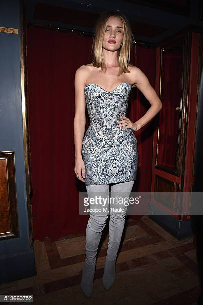 Rosie HuntingtonWhiteley attends Balmain Aftershow Party as part of Paris Fashion Week Womenswear Automn/Winter 2016 at Restaurant Laperouse on March...