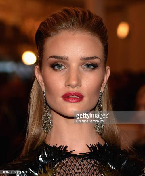 Rosie HuntingtonWhiteley attends the 2013 Costume Institute Gala PUNK Chaos to Couture at Metropolitan Museum of Art on May 6 2013 in New York City
