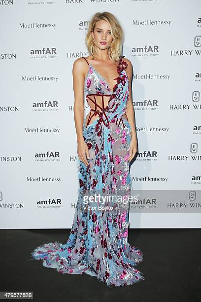 Rosie HuntingtonWhiteley attends the amfAR dinner at the Pavillon LeDoyen during the Paris Fashion Week Haute Couture on July 5 2015 in Paris France