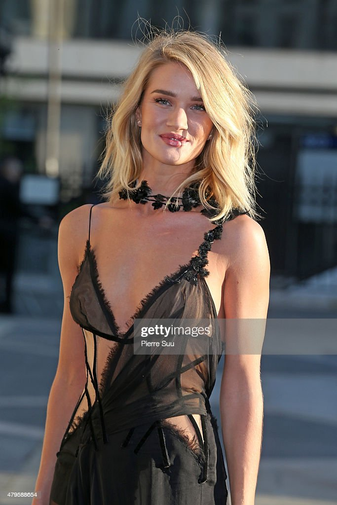 Rosie Huntington-Whiteley attends the Atelier Versace show as part of Paris Fashion Week Haute Couture Fall/Winter 2015/2016 on July 5, 2015 in Paris, France.